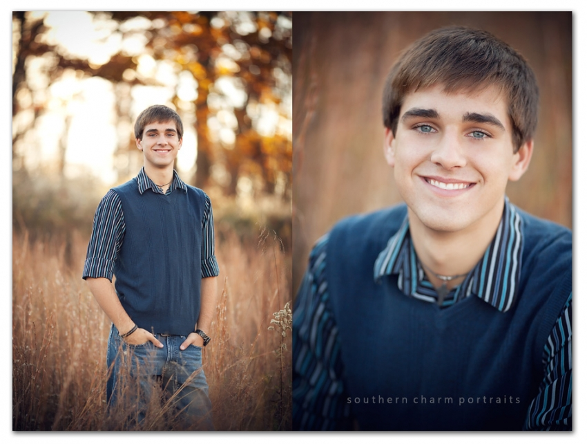 blue sweater and eyes high school senior boy fall portraits