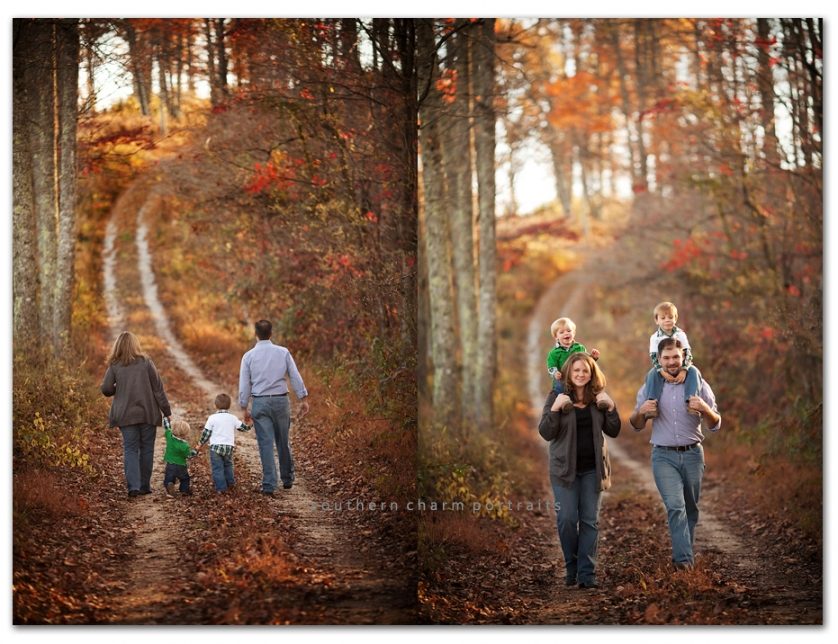 family of four walking together in woods