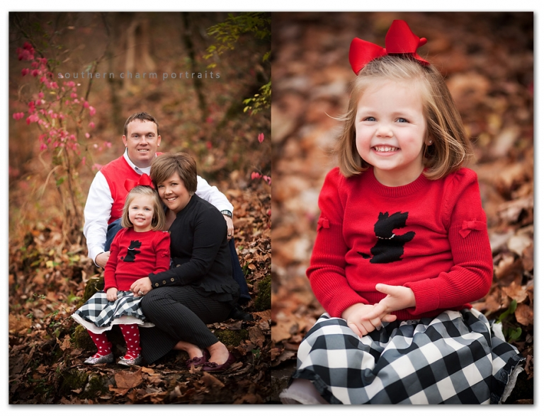 family dressed in red and black for holiday portraits