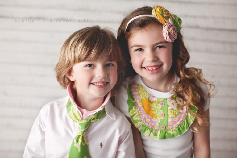 boy and girl wearing polkadaisies clothing
