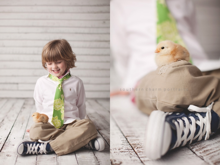 chick sitting on boys knee in portrait studio