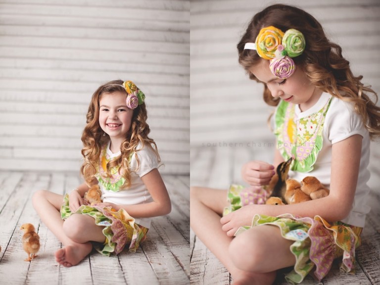 girl wearing rosette headband and ruffle tee and skirt